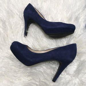 Marc Fisher Sydney blue suede shoes